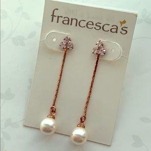 Francesca's Rose Gold Pearl Drop Earrings